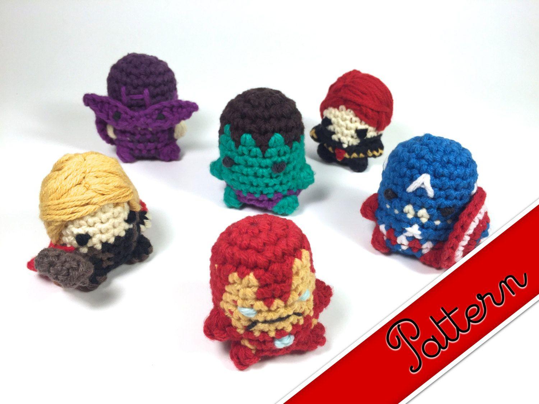 PDF Pattern for Crocheted Avengers Miniature Amigurumi Keychain ...