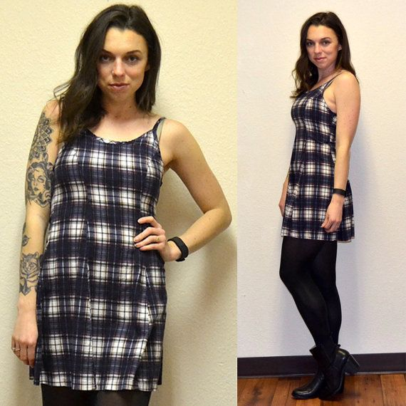 90s Grunge Plaid Dress by MerlotMami on Etsy #hipster #softgrunge #90sgrunge #grunge #vintage #fashion #dress #plaid #blue #minidress