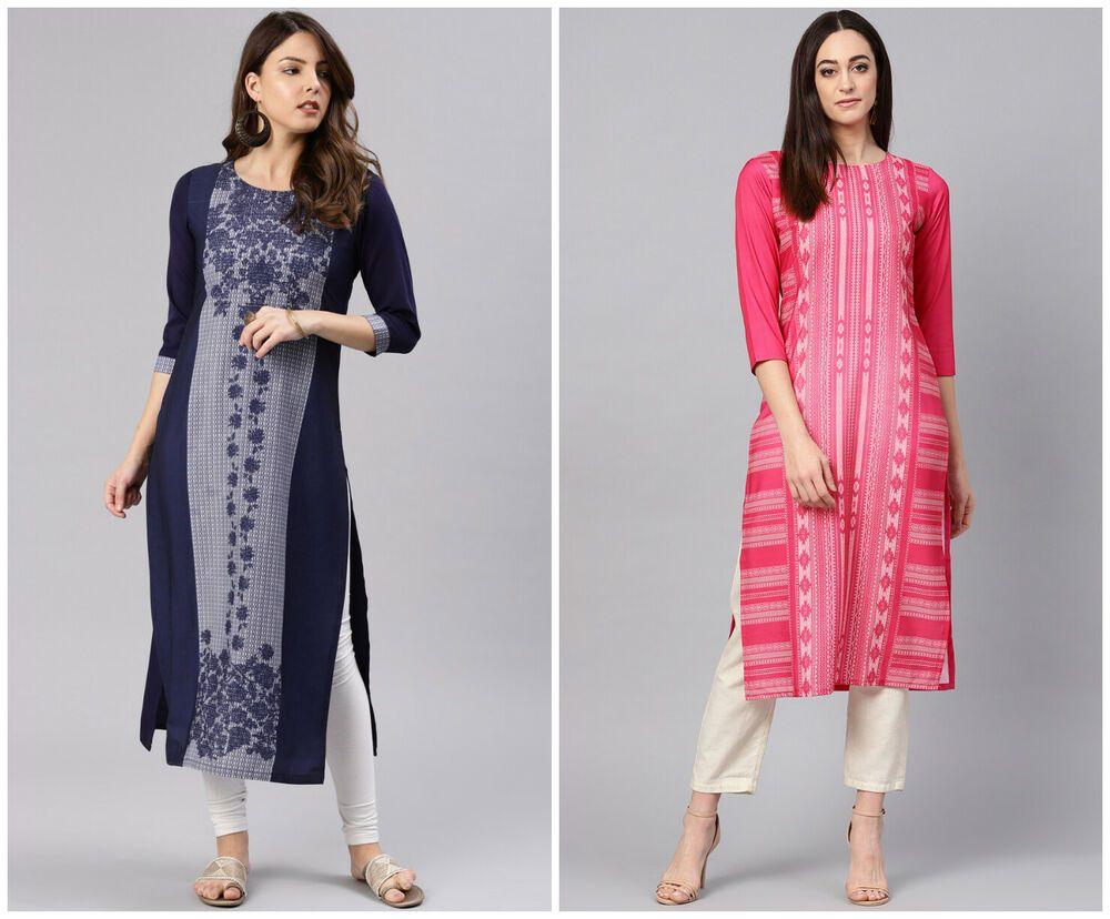 Indien Kurta Kurti Bollywood Pakistan Femme Créateur Tunique Longue Robe S 5XL