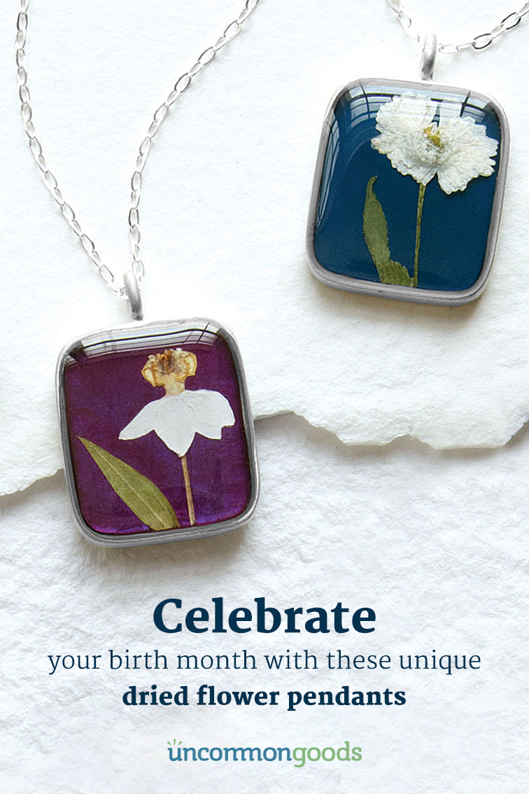 Birth Month Flower Necklace Real Flower Pendant Birth