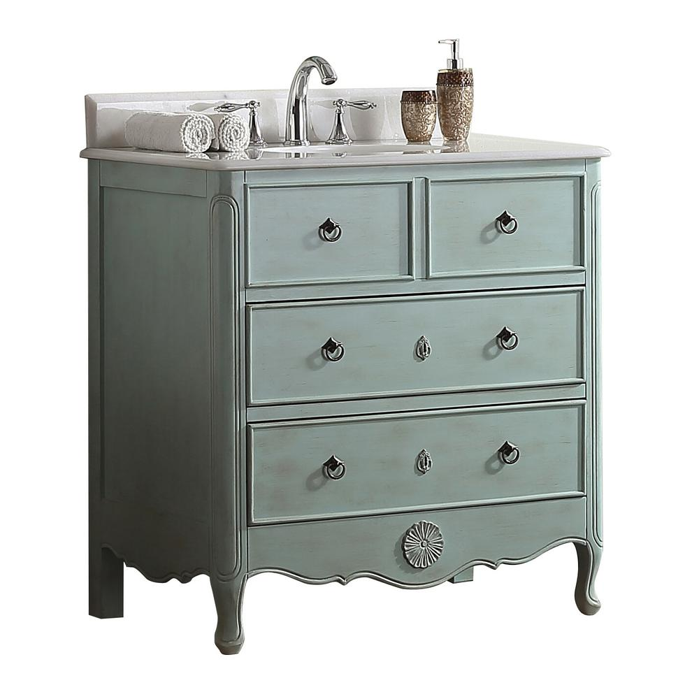 Modetti Provence 34 In W X 21 In D Bath Vanity In Light Blue With Marble Vanity Top In White W Blue Bathroom Vanity Marble Vanity Tops Blue Bathroom Interior
