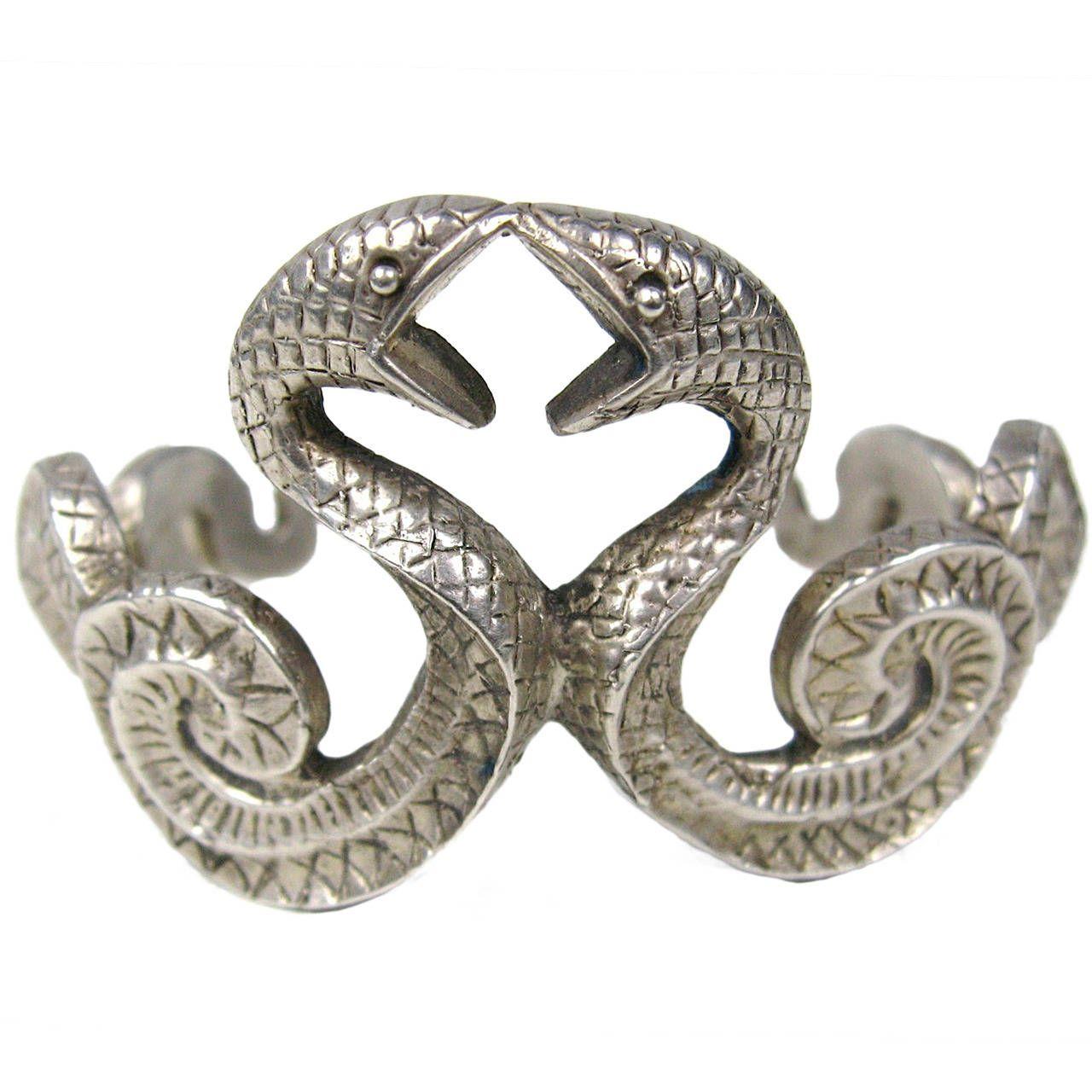 Double Snake BRACELET 925 Sterling Silver Goth | From a unique collection of vintage cuff bracelets at https://www.1stdibs.com/jewelry/bracelets/cuff-bracelets/