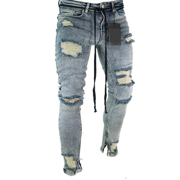 e6a4b373 Jamickiki 2018 Casual Design Mens Skinny Broken Hole Ripped Beggar Jeans  for Men, Hip Hop Street Style Denim Pants, Sport Denim Trousers.
