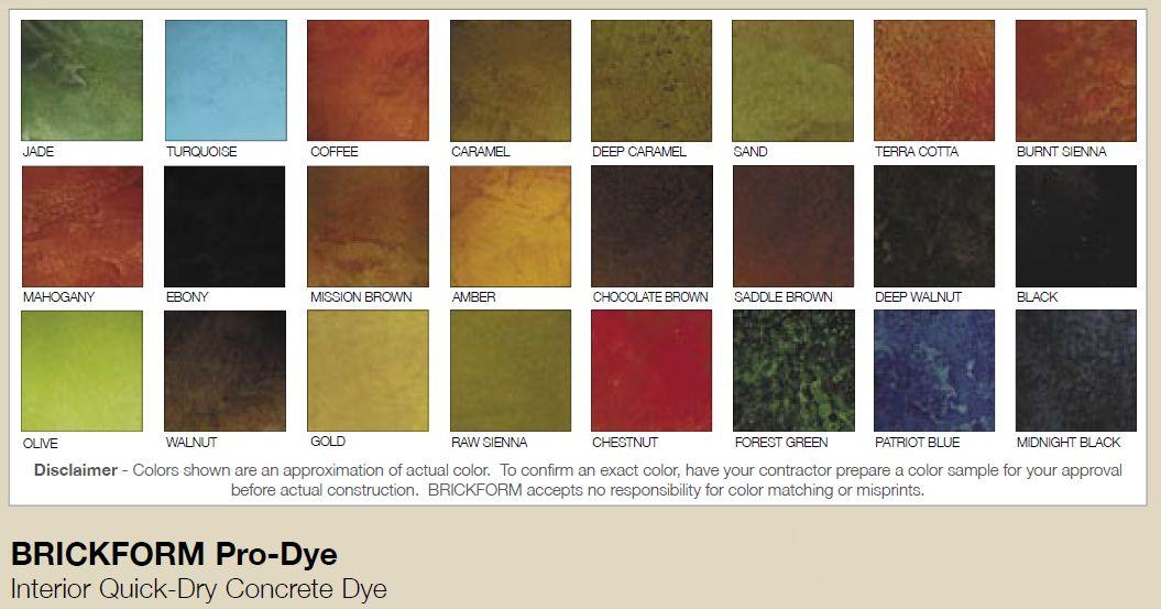 BRICKFORM Pro-Dye line of concrete dyes features 24 vibrant hues