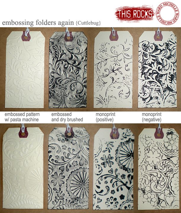 Michelle Ward doing cool printing techniques with tags and embossing folders - LOVE  michelleward.typepad.com