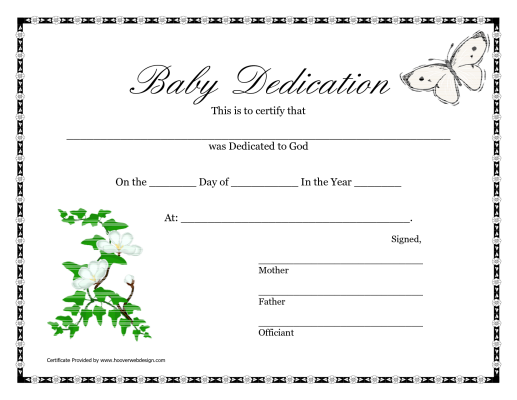 Printable Baby Dedication Certificate  Baby Dedication Certificates Templates