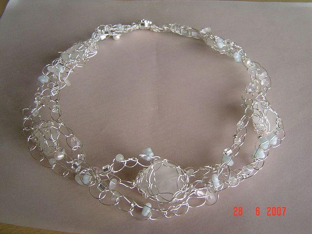 constellations wire crochet seaglass necklace   Collares, Alambre y ...