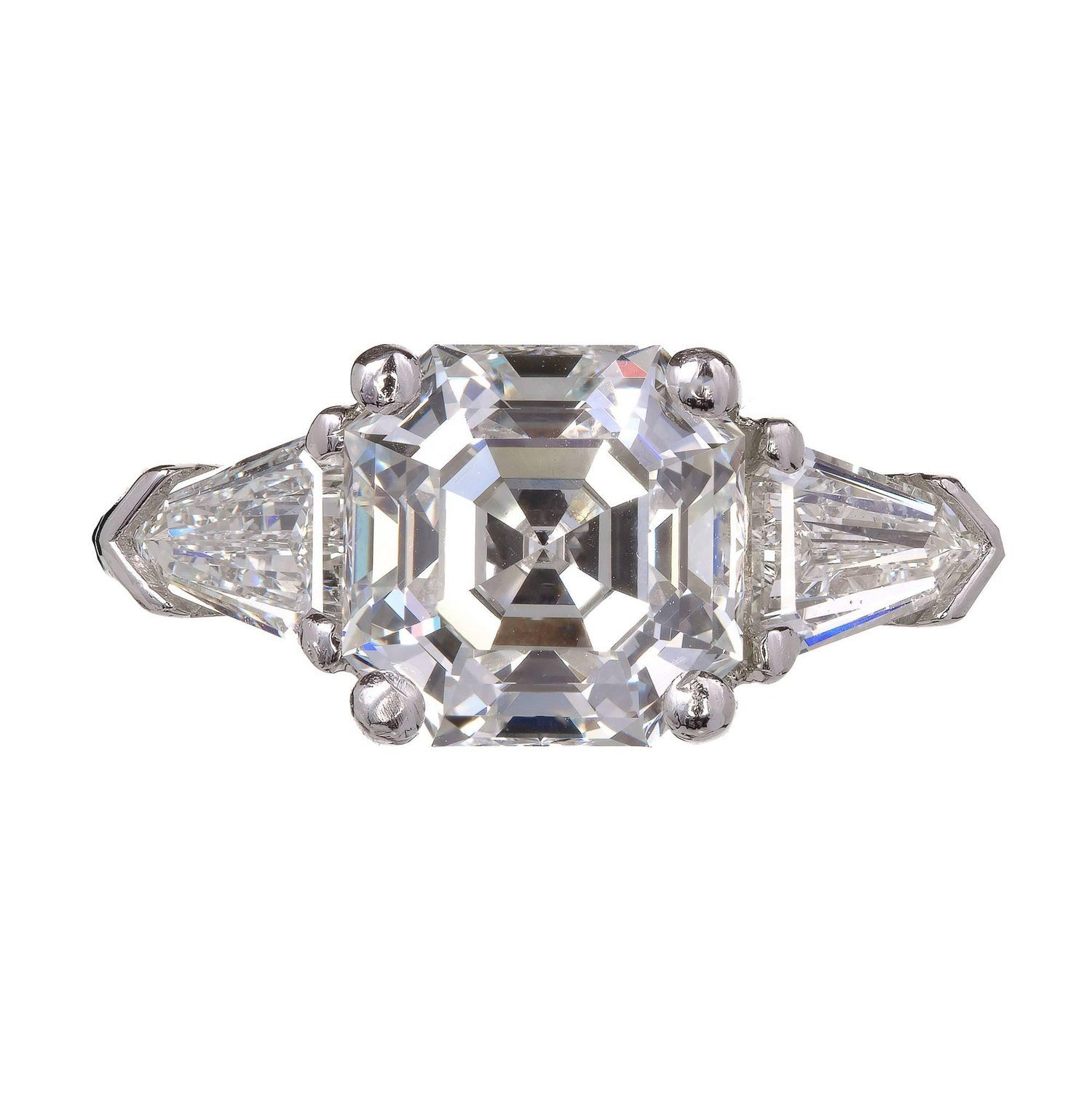 side srw wedding bullet set and engagement bezel prongs diamond diamonds split eagle claw center emerald cut rings with