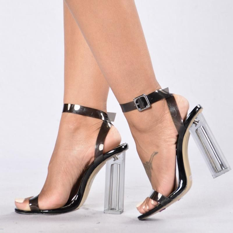 High Heels Crystal Clear Transparent Shoes Sandals Buckle