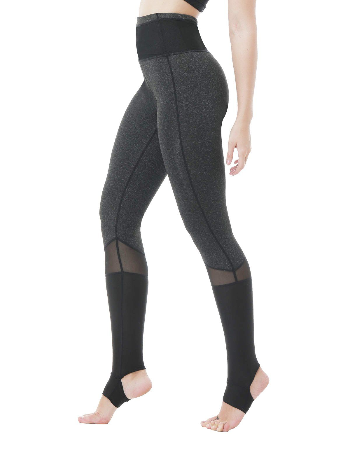 1cb1827d957a Feeker Women's High Waist Yoga Capri Pants, Black Cotton Mesh Workout Capri  Leggings, Tights for Gym, Running, Yoga. Crisscross Stirrup Tights:Heel  cut-out ...
