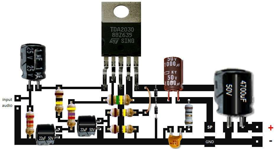 Skema Amplifier Tda2030 Tegangan Tunggal Gurukatro Rangkaian Elektronik Elektronik Teknik Listrik