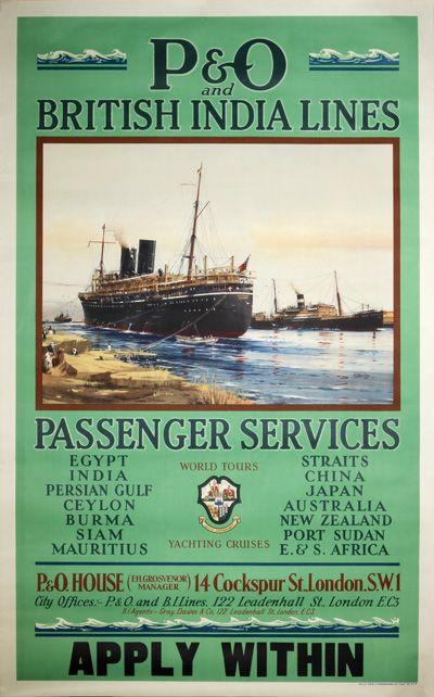 Original vintage poster: P&O British India Lines Passenger Service for sale at posterteam.com
