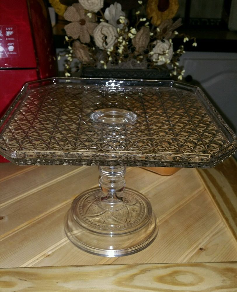 RARE Antique EAPG Bryce Glass Daisy Button Cake Plate Stand | eBay : antique plate stand - pezcame.com