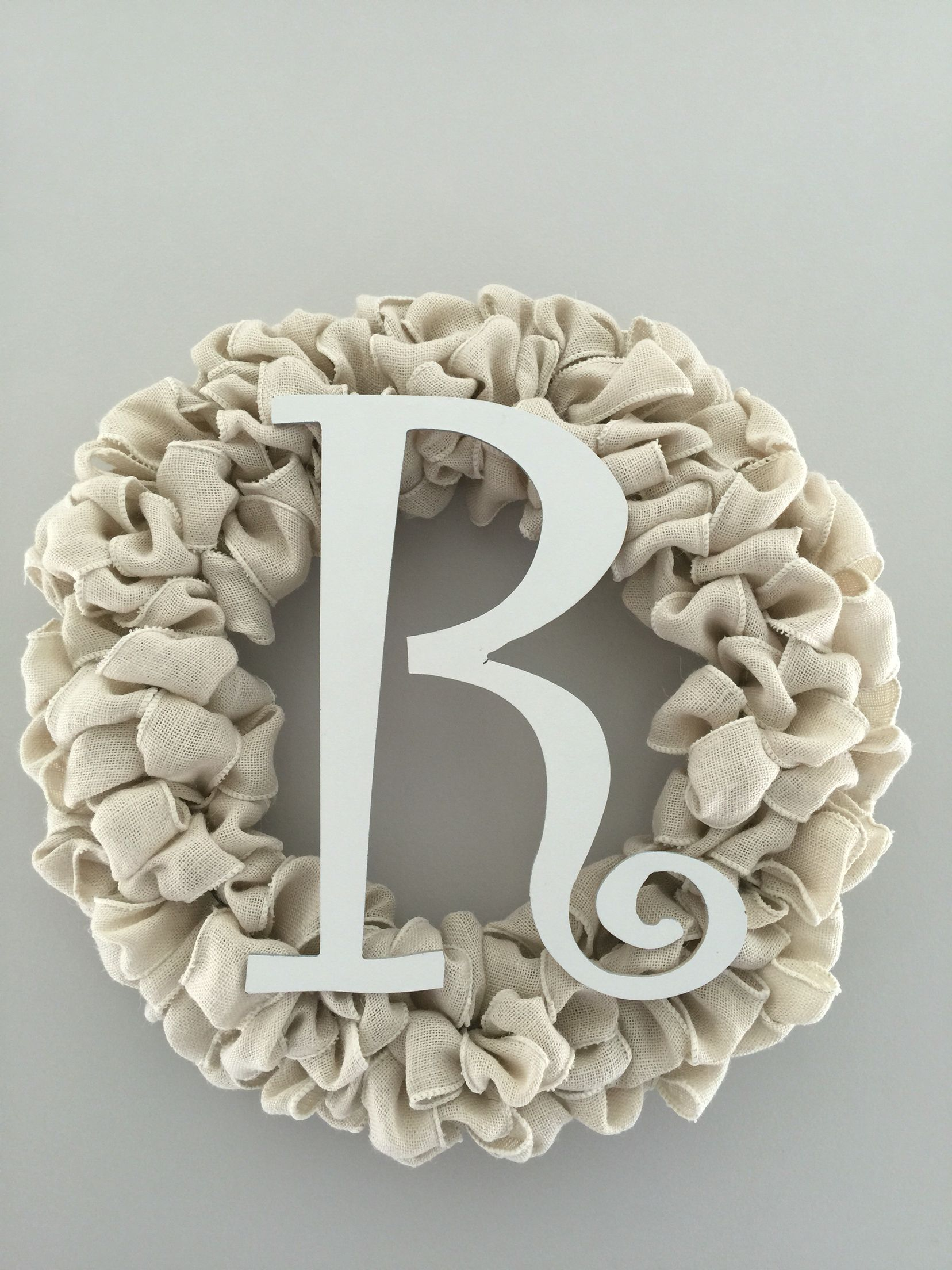 Ivory burlap with initial simple but elegant