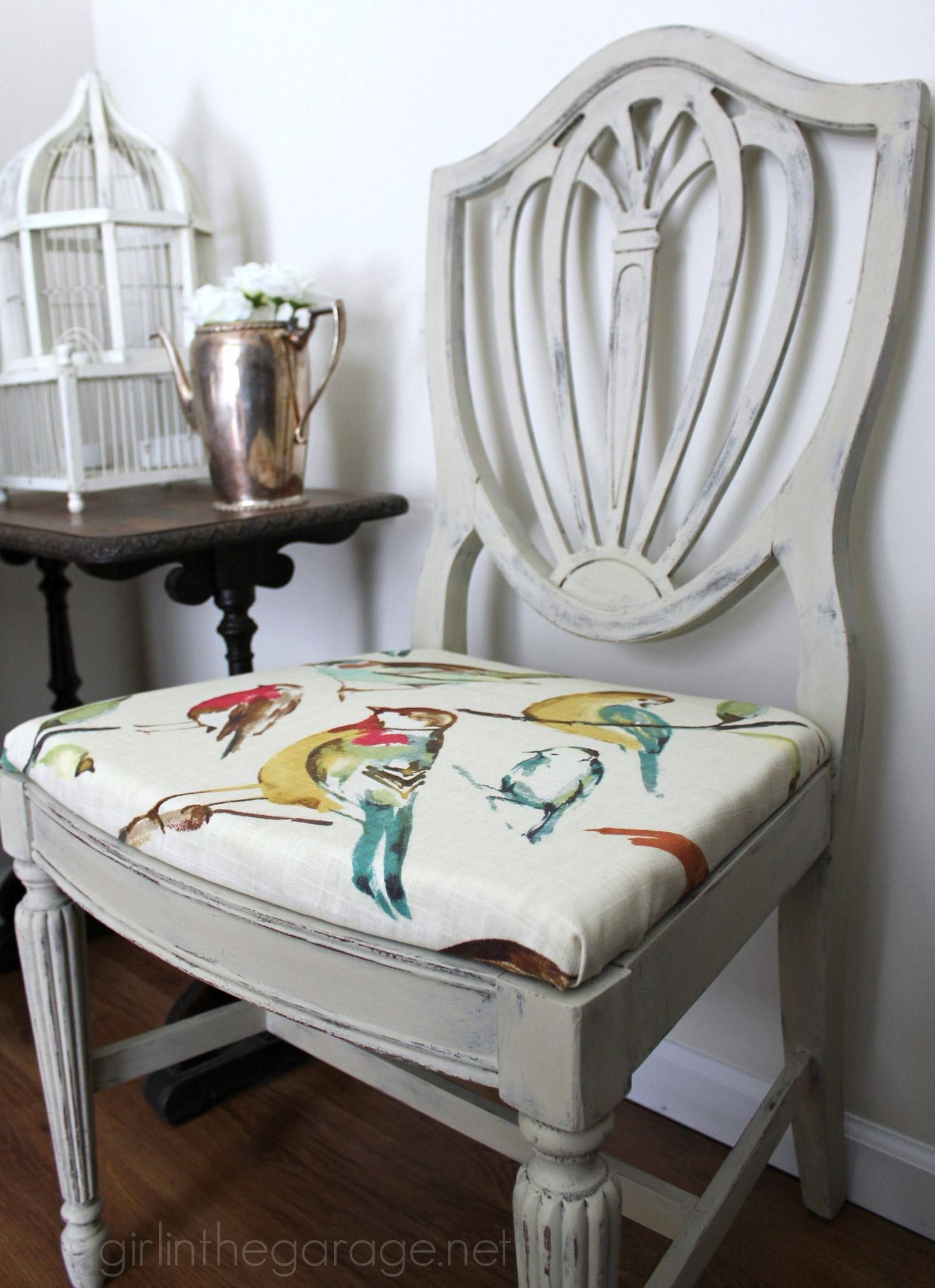 Prime Country Grey Chalk Paint Chair Makeover With Bird Fabric Download Free Architecture Designs Scobabritishbridgeorg