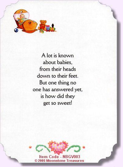 New Baby Girl Verse NBGV002 Card Sentiments Pinterest Baby