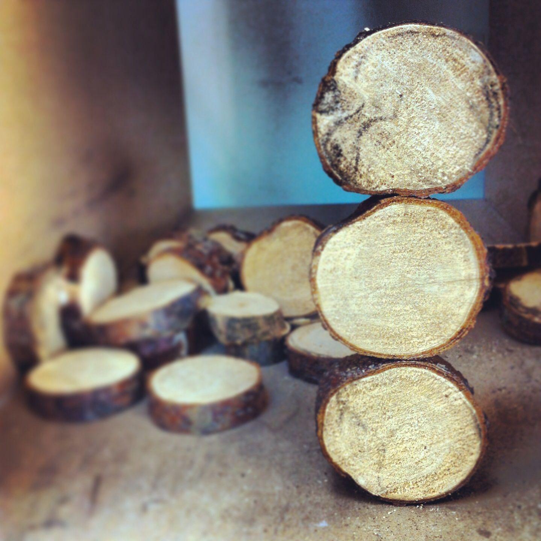 Tree bark discs balanced stack  Land Art  Alex Birchall
