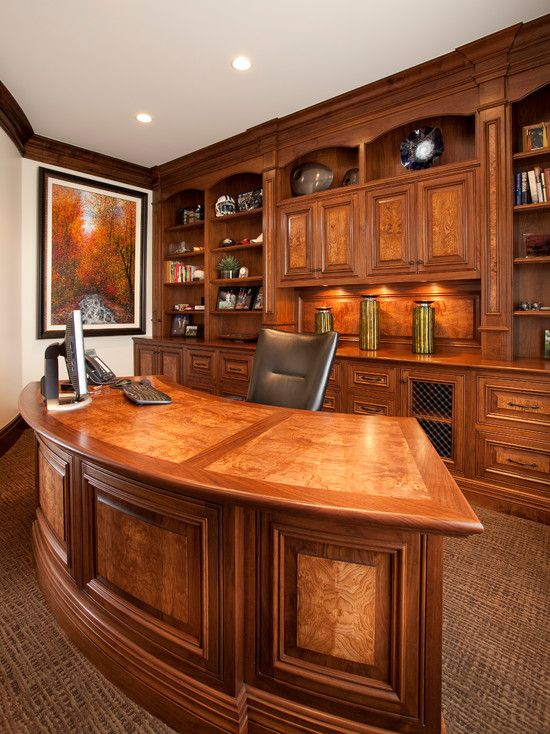 Charming Office Decorating Ideas For Men With Curved Wood Desk And Elegant Chair Artistic Pai