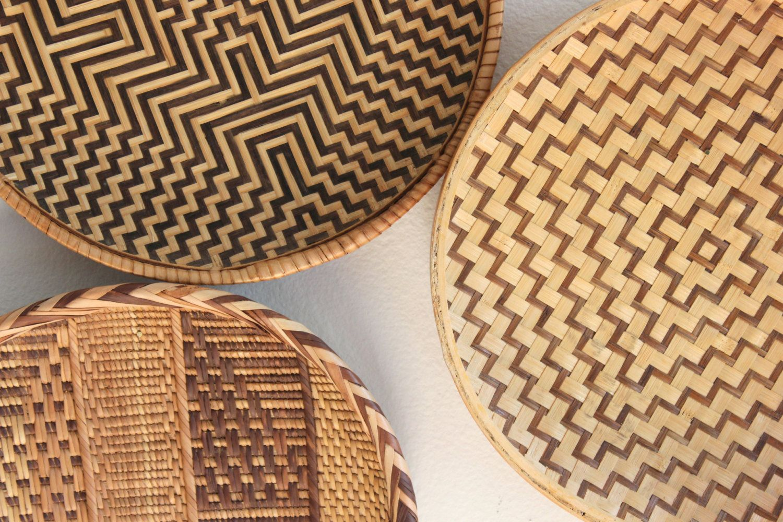 Vintage Woven Rattan Bamboo Basket Trays Boho Wall Decor