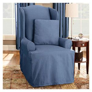 Sure Fit Cotton Duck T Cushion Wingback Slipcover   Walmart.com