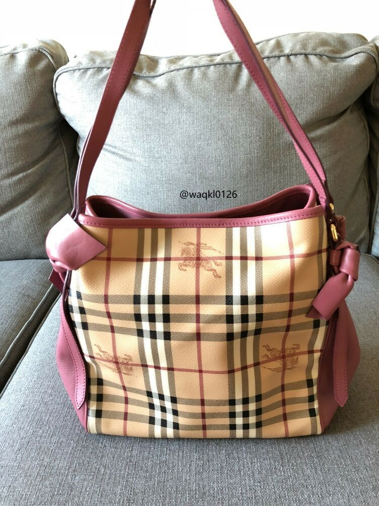 a13db9ec284a NWT 100% Authentic Burberry Small Canter Horseferry Bowtie Check Tote Pink