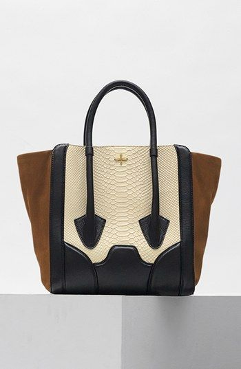 Pour la Victoire 'Butler - Large' Snake Embossed Leather & Suede Tote | Nordstrom