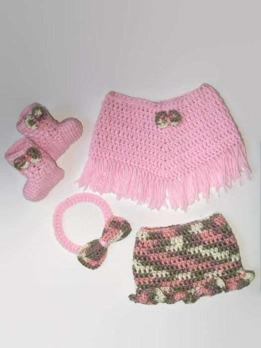 Crochet Pattern Pretty Pink Baby Poncho Outfit Crochet Skirt Set