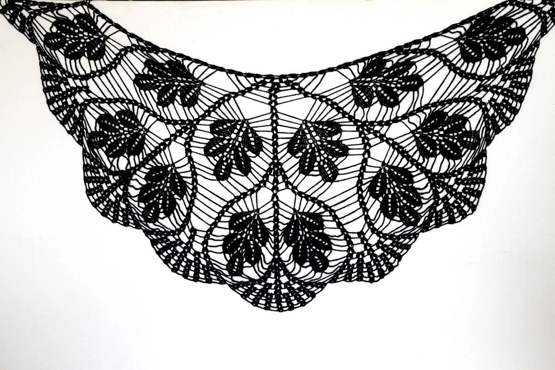 Black ShawlBlack Wraps Shawl Crochet Scarf Womens by ettygeller