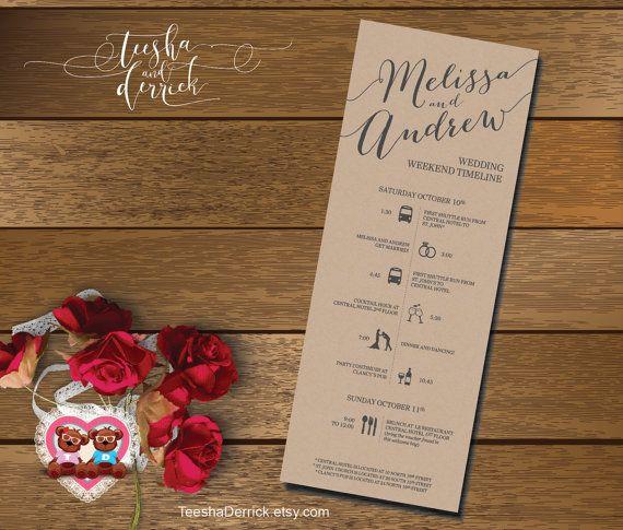 Printable Wedding Timeline, Wedding Weekend timeline, Wedding - wedding timeline