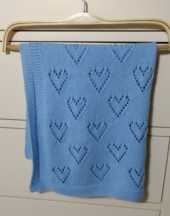 Hearts pattern baby blanket - hand knitted blanket https://www.etsy ...