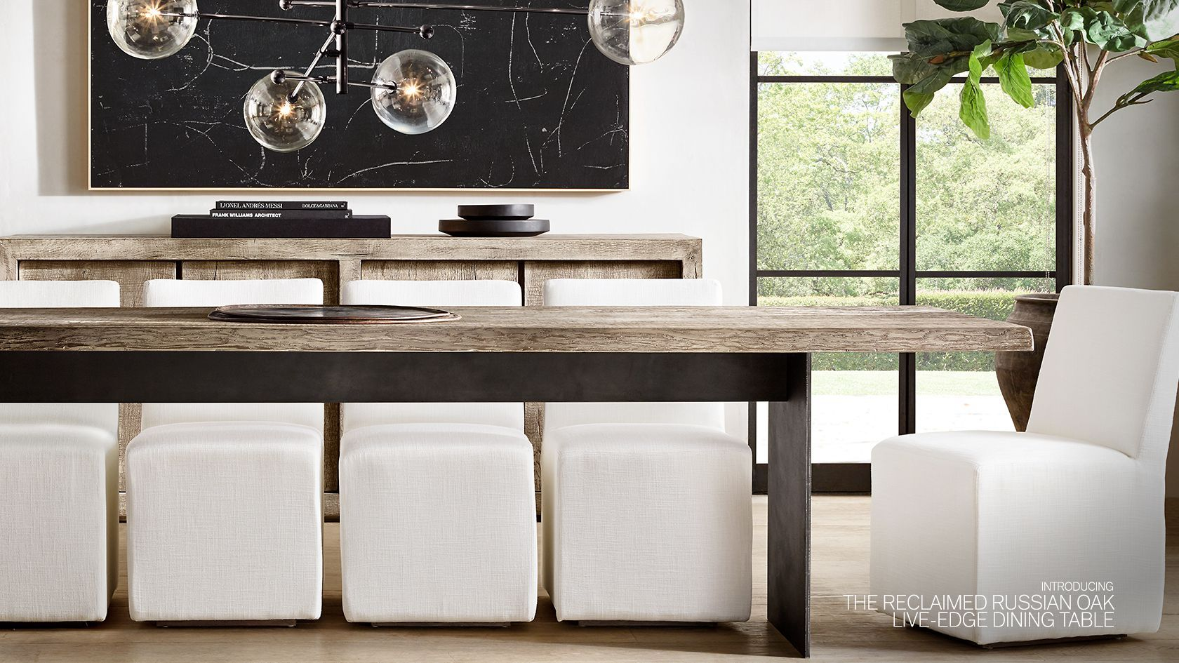 Rh Modern Explore The Live Edge Collection Restoration Hardware Dining Room Rh Modern Modern Living Room #rh #modern #living #room