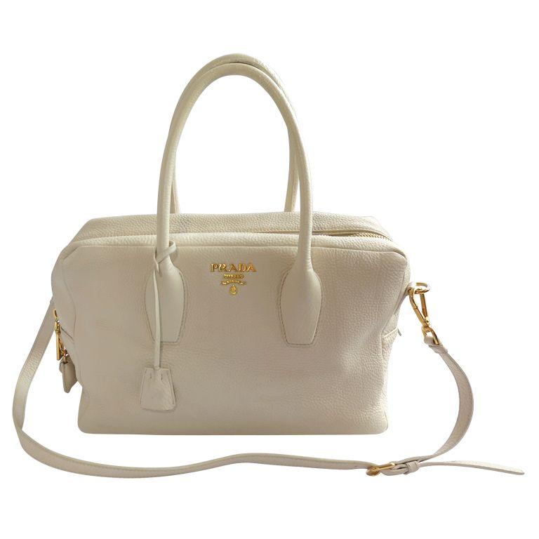 a3b5c0c76650 1stdibs | PRADA Ecru grained leather top handle bag | I want a ...