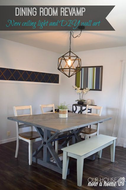 Dining Room Revamp Farmhouse Table With New Ceiling Light And DIY Wall Art This Is A Mix Of Purchase Projects