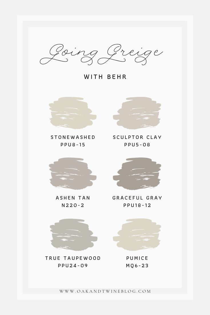 Going Greige Color Palette From Behr Greige Paint Farmhouse