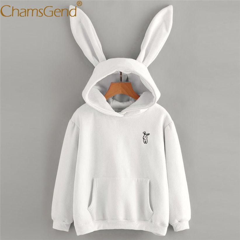 Chamsgend Hoodies Rabbit Ear sudadera kawaii Sweatshirt Women Winter Warm  White Hoodies Sweatshirts With Front Pocket 71207 a8dd7572b5