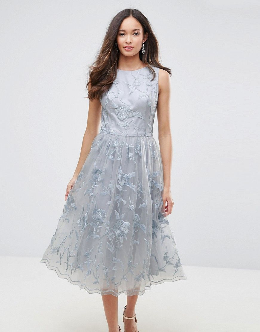 Chi Chi London Lace Midi Dress with 3D Flowers - Gray cd190d4d7