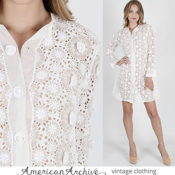 vintage 60s Sheer White Lace Dress Wedding by americanarchive, $108.00