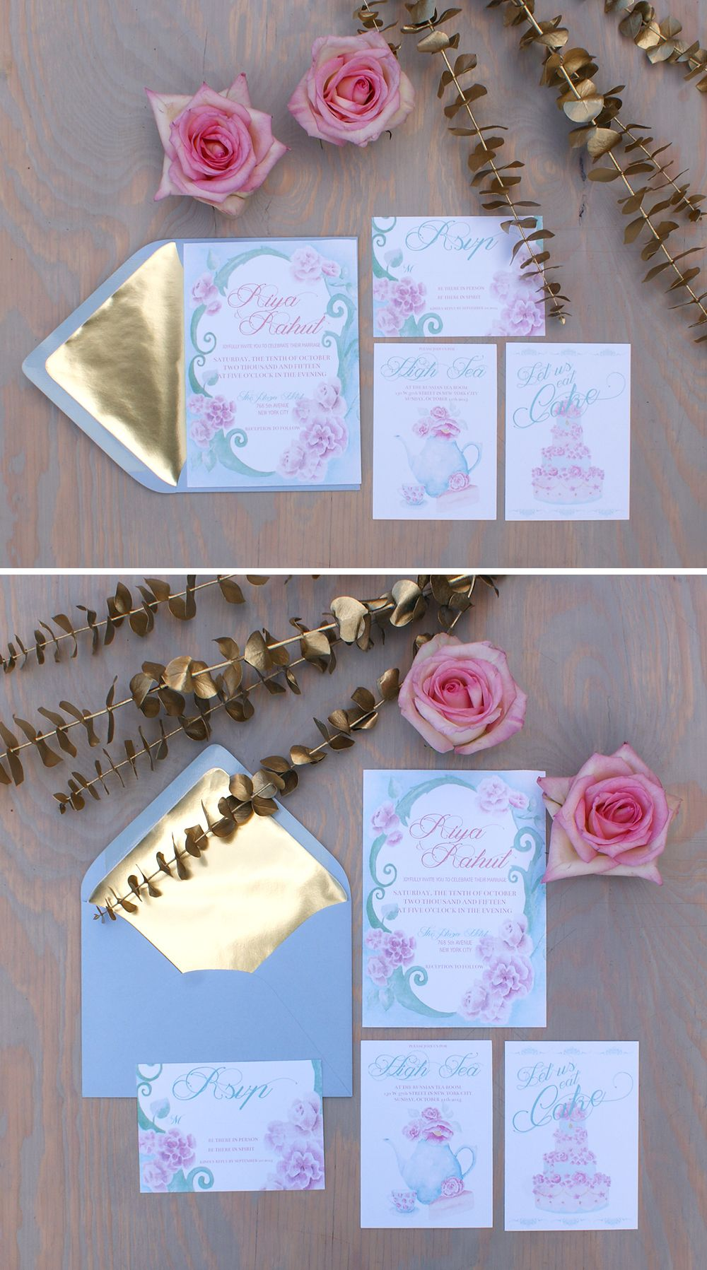 Marie Antoinette French vintage watercolor wedding invitation with ...