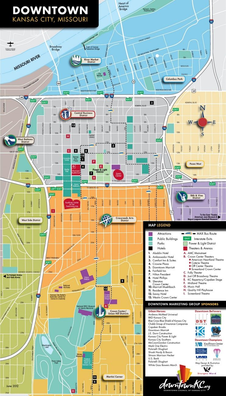 Kansas City tourist map | Nomad Travels in 2019 | Kansas city map ...