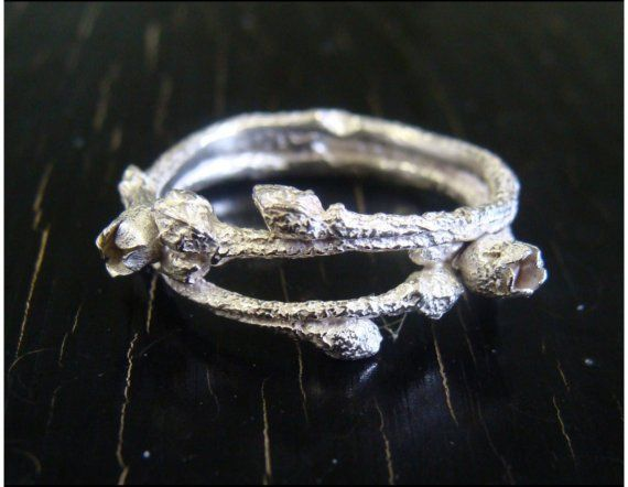 Blueberry ring - real blueberry branch cast in sterling silver!