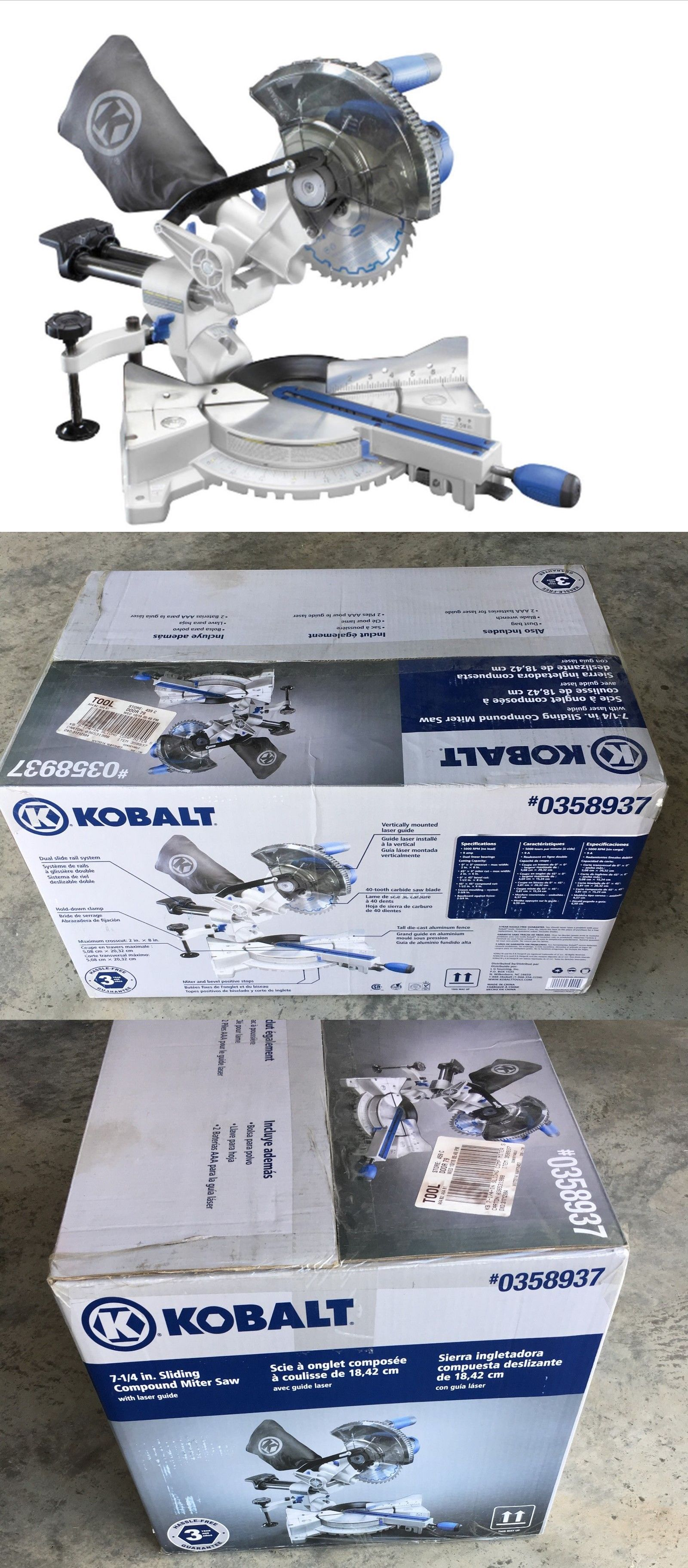 Kobalt 7 1 4 In 9 Amp Single Bevel Sliding Laser Compound Miter Saw Sm1850lw Compound Mitre Saw Miter Saw Sliding Compound Miter Saw