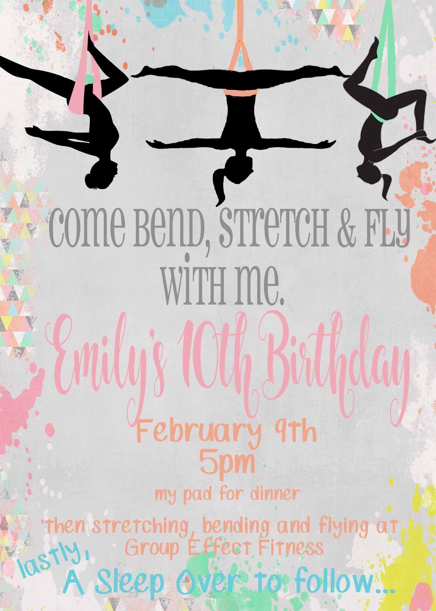 Aerial Yoga Birthday Invitation By 4jevos On Etsy Https Www Etsy Com Listing 576728418 Aerial Yoga Birthday Invit Yoga Party Birthday Invitations Aerial Yoga