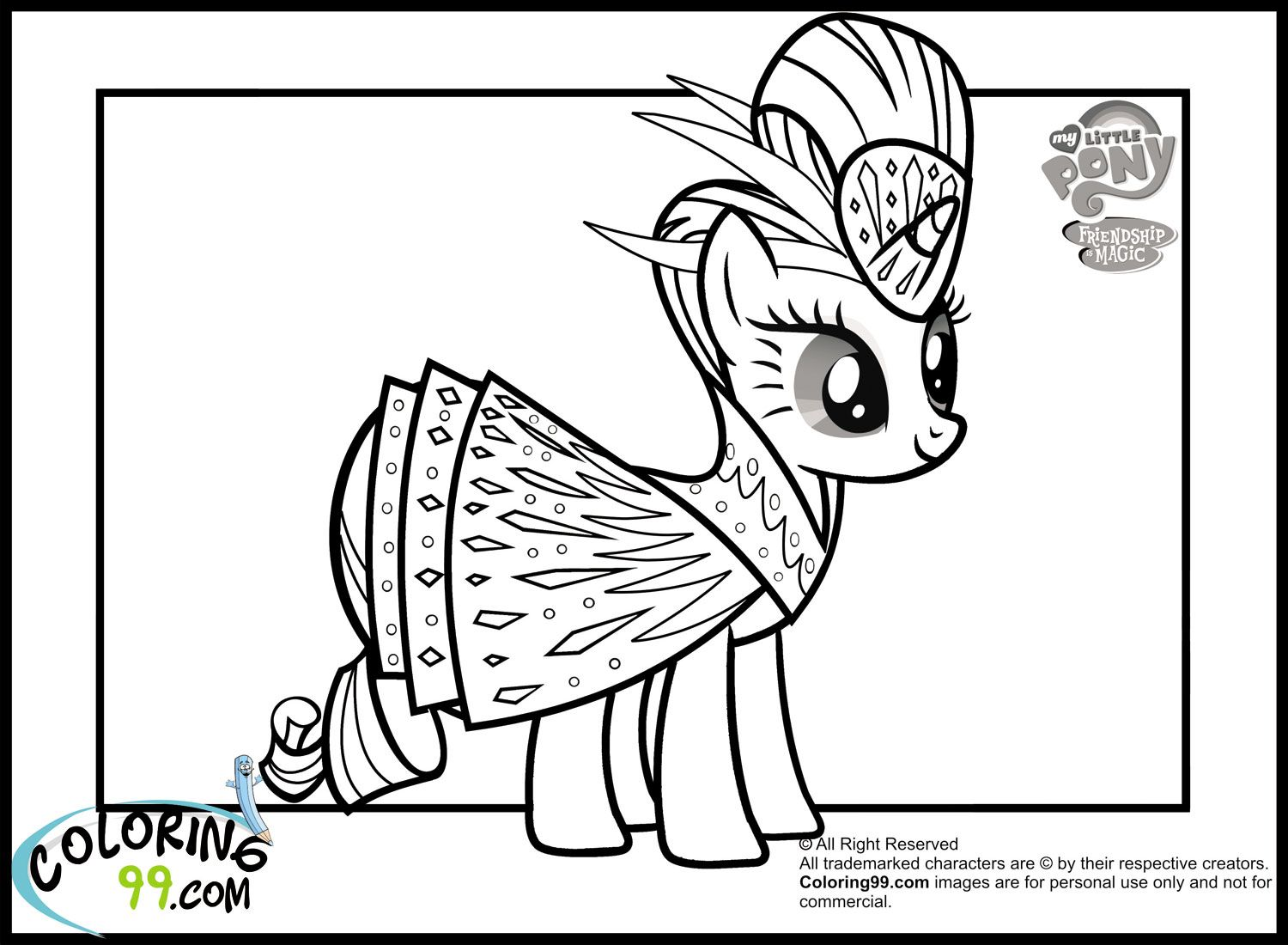 coloring 99 my little pony | My Little Pony Rarity Coloring Pages ...