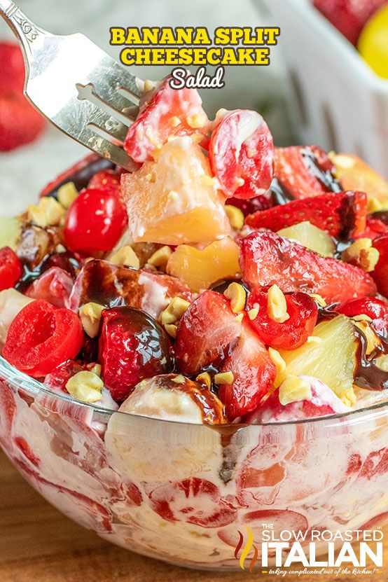 Banana Split Cheesecake Salad has all of the flavors of a classic banana split and cheesecake combined in one amazing fruit salad perfect for a side dish or dessert  Every bite is banana split cheesec is part of Dessert recipes -