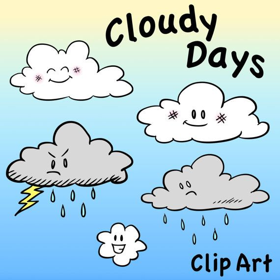 Cloud Characters Clip Art Cloudy Days Clipart Digital By Pigknit 2 00 Clip Art Art Cloudy Day