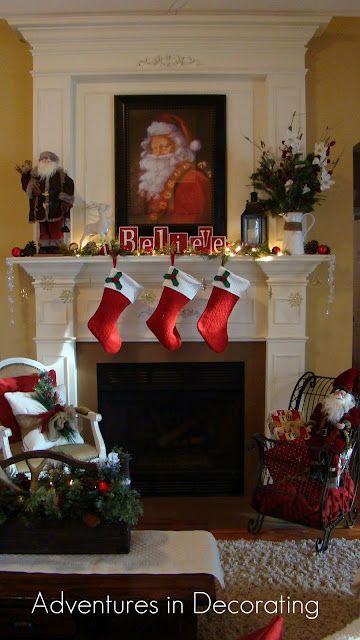 our christmas mantel dedicated to the big guy himself. Black Bedroom Furniture Sets. Home Design Ideas