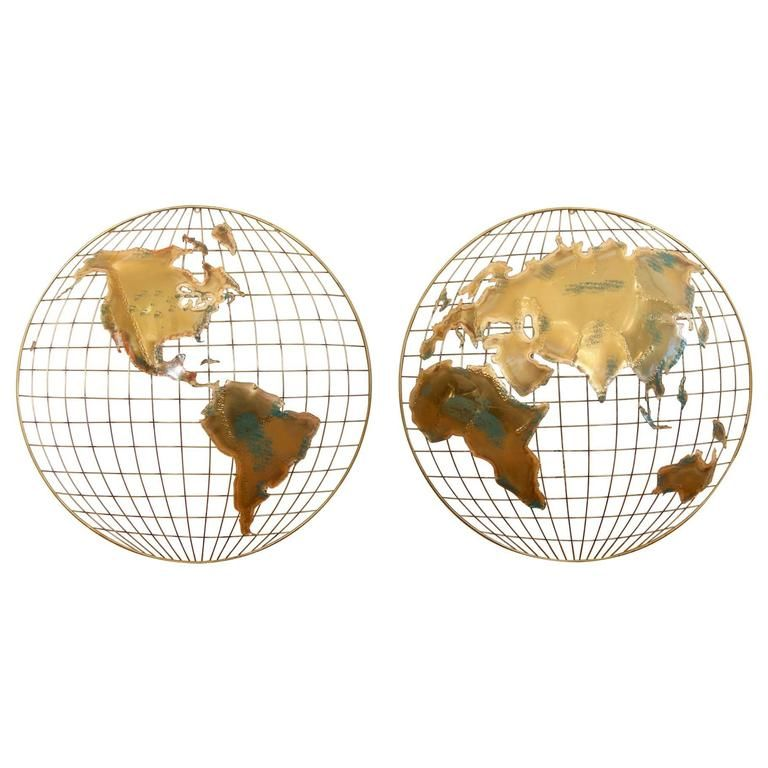 Pair of Curtis Jere Globe Wall Hangings | From a unique collection of antique and modern decorative art at https://www.1stdibs.com/furniture/wall-decorations/decorative-art/