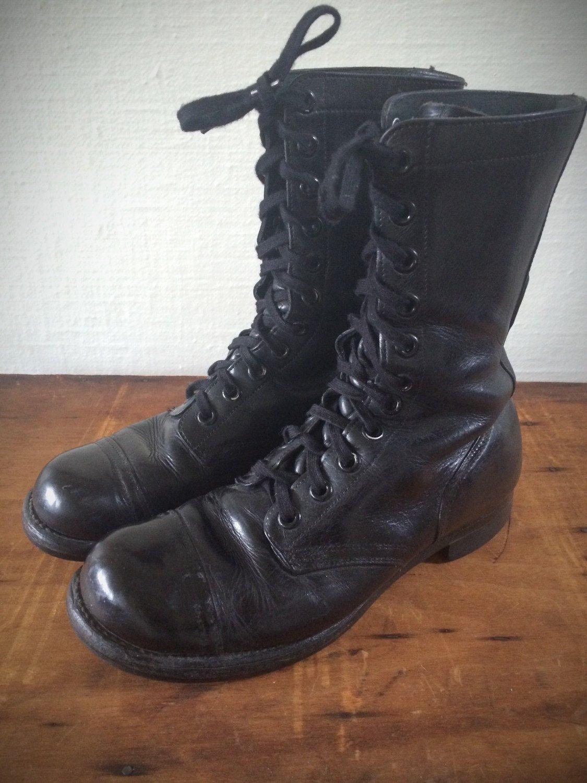 8d0fd7cd11a Vintage 1960s Military Combat Jump Boots- Cap Toe Motorcycle Boots ...