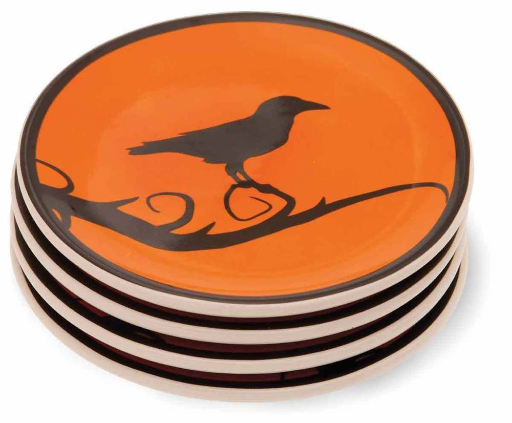 details about hallowchic fun halloween ceramic serving crow birds plates set four434d - Halloween Plates Ceramic