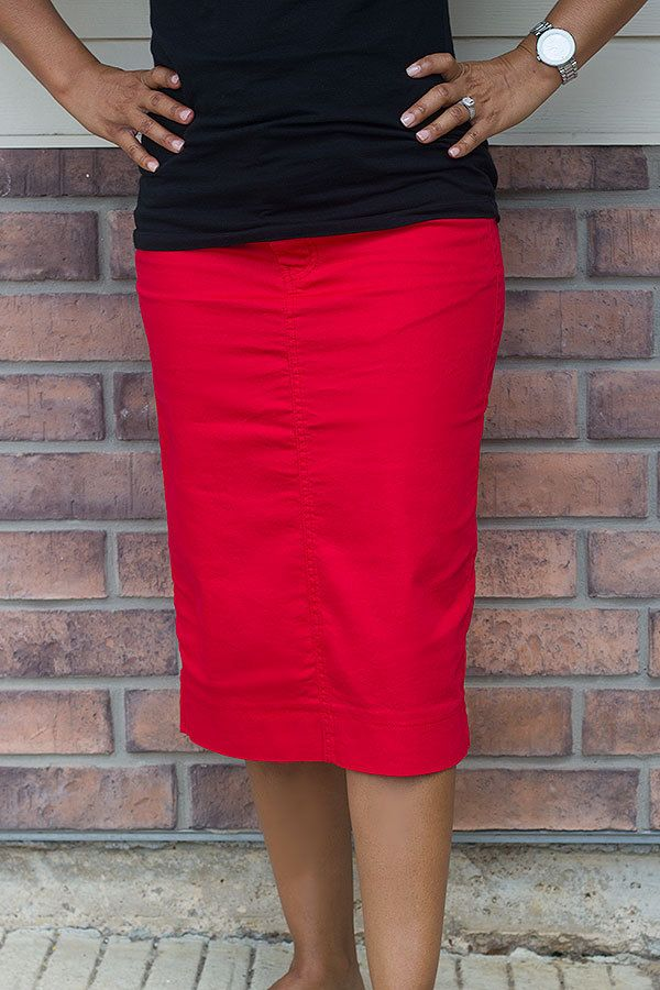 Red Colored Denim Skirt-MORE COLORS OPTIONS - Jade Mackenzie ...